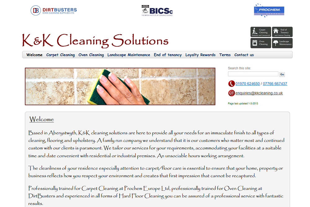 KK Cleaning web site