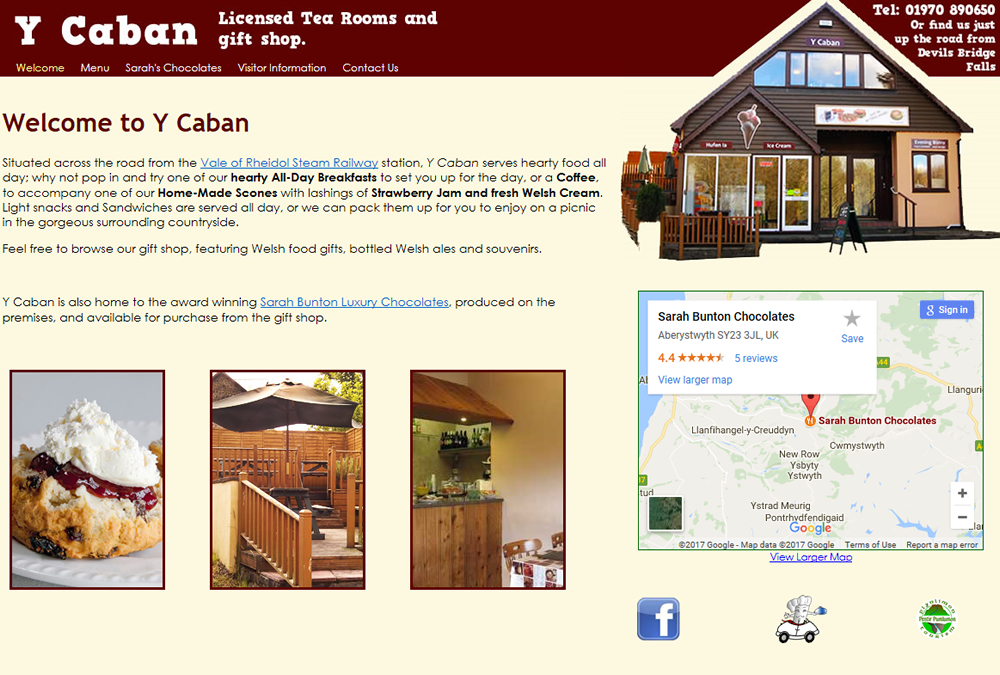 Web site for Y Caban, Devil's Bridge