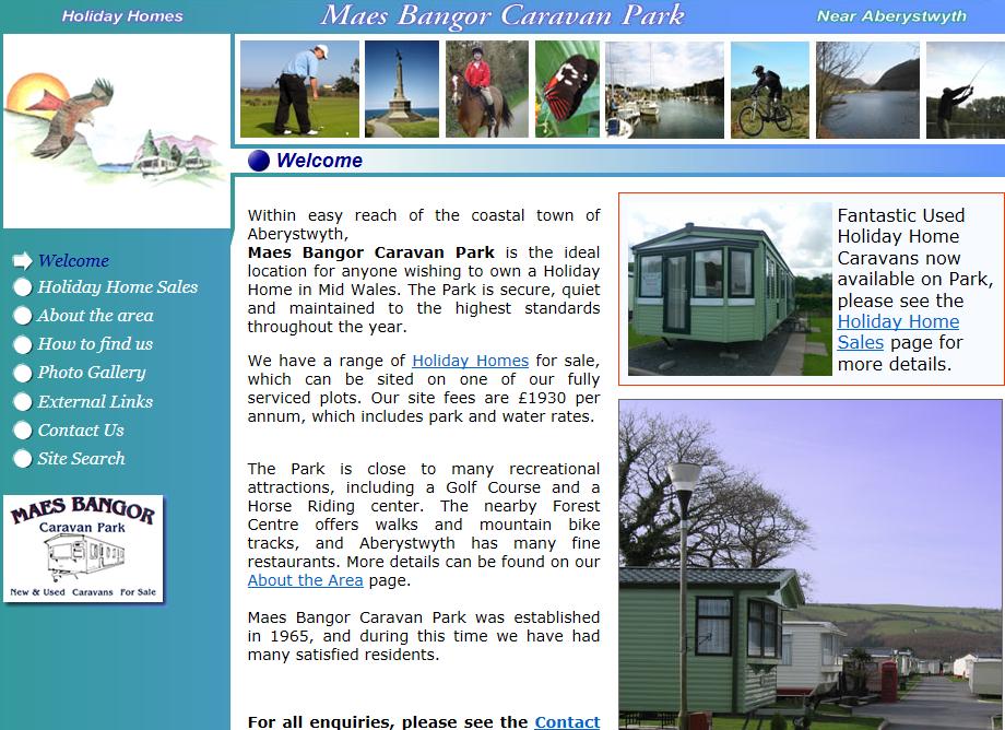 Maesbangor Caravan Park web site