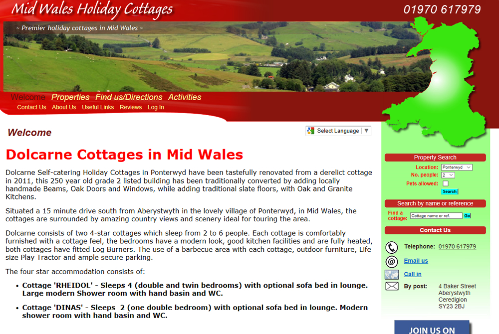 Mid Wales Holiday Cottages web site