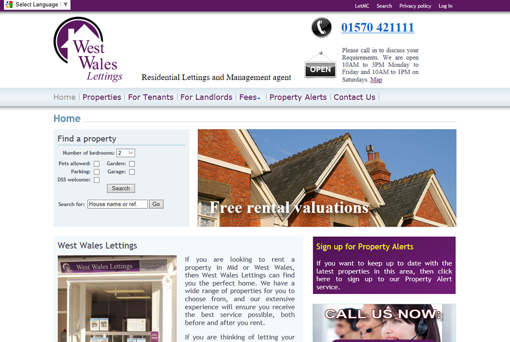 West Wales Lettings web site