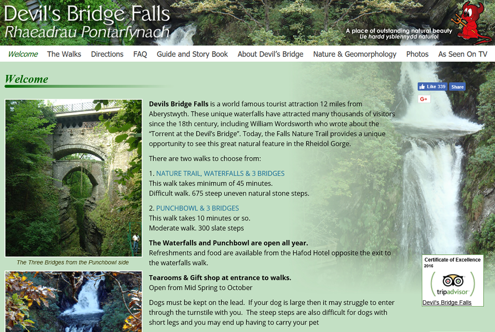 Devil's Bridge Falls web site