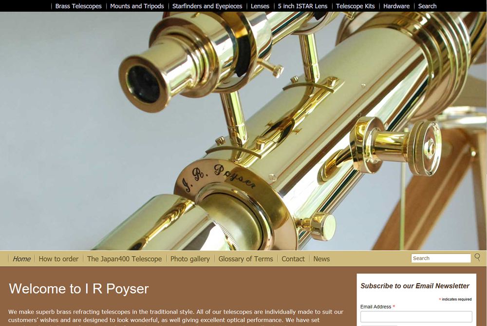 I R Poyser - telescope makers web site