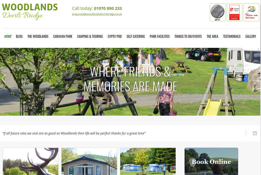 Woodlands Caravan Park web site