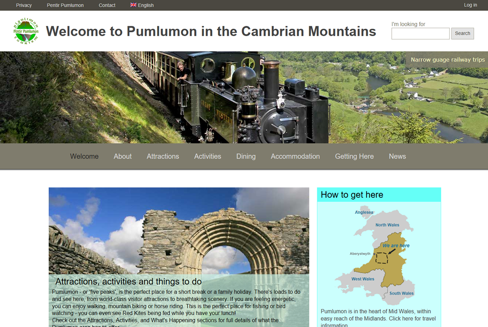 Pentir Pumlumon Tourism web site